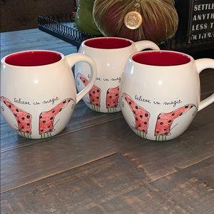 🆕🎄Rae Dunn BELIEVE IN MAGIC 3 Mug Set
